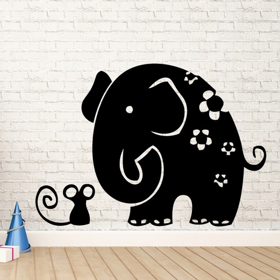 Floral Elephant and Mouse Kids Decal