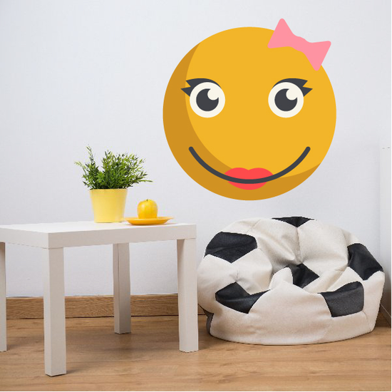 Emoticon Happy Face Girl Wall Decal - Vinyl Decal - Car Decal - Idcolor022