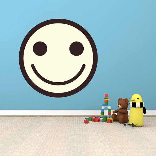 Emoticon Happy Face Wall Decal - Vinyl Decal - Car Decal - Idcolor051