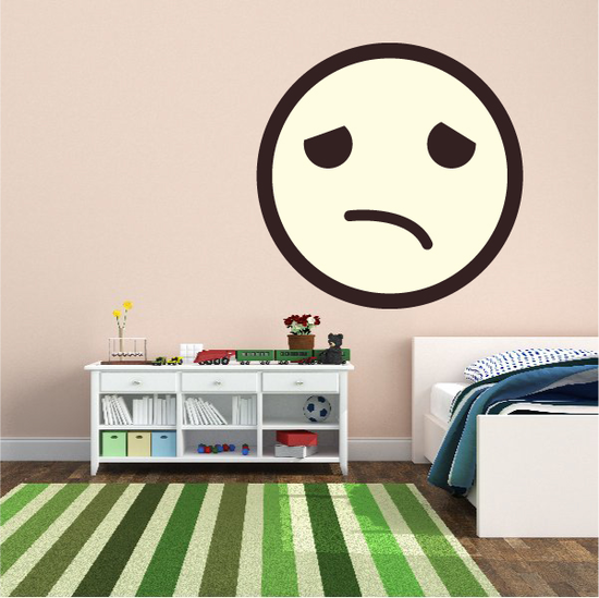 Emoticon Depressed Face Wall Decal - Vinyl Decal - Car Decal - Idcolor055