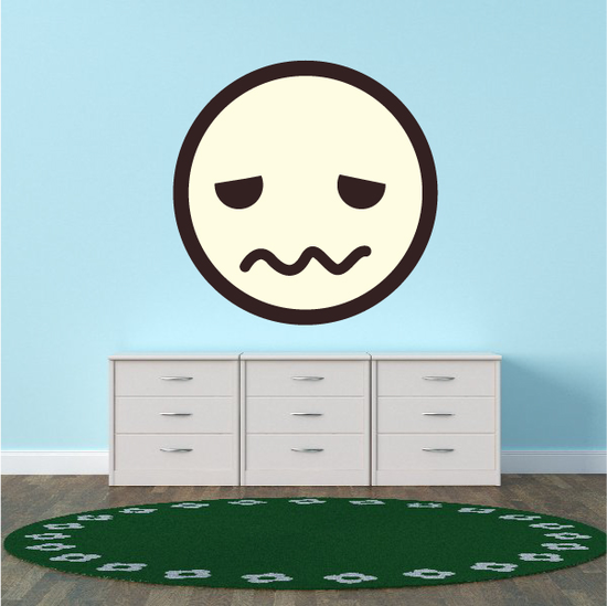 Emoticon Embarrassed Face Wall Decal - Vinyl Decal - Car Decal - Idcolor056