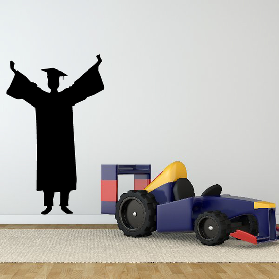 Cheering Male Graduate Decal