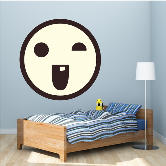 Emoticon Goofy Face Wall Decal - Vinyl Decal - Car Decal - Idcolor096
