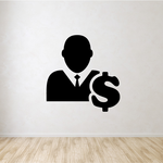 Business Man with Money Sign Business Icon Wall Decal - Vinyl Decal - Car Decal - Id007