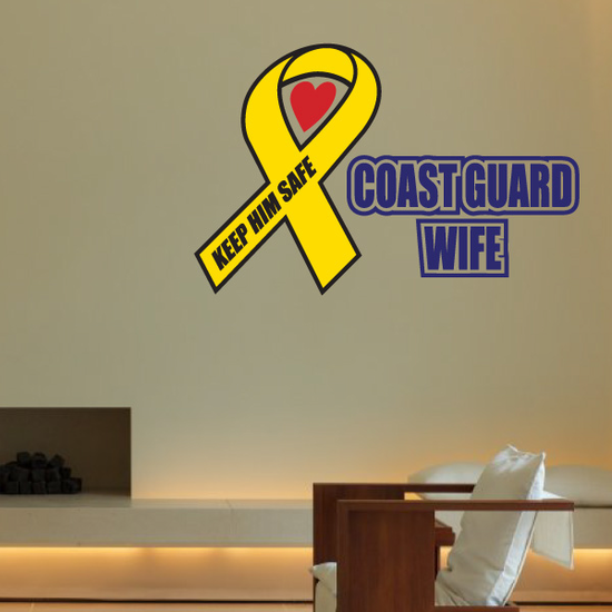 Cost Guard Wife Ribbon Printed Die Cut Decal