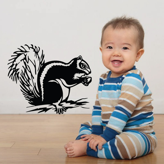 Fuzzy Squirrel and Acorn Decal
