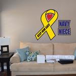 Navy Niece Ribbon Printed Die Cut Decal