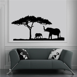 Great Tree and Elephant Family Decal