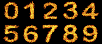 Number Flame Decals