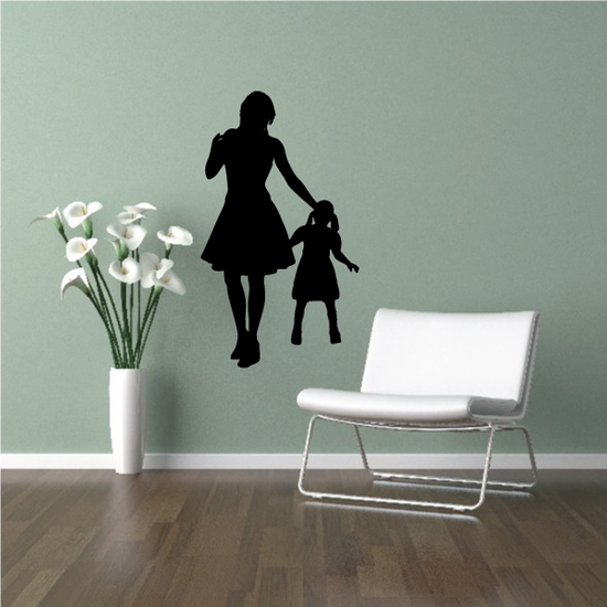 Mom Walking with Daughter Decal