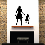Mother And Daughter Holding Hands Decal