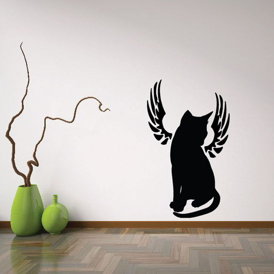 Cat With Wings Wall Decal - Vinyl Decal - Car Decal - DC014