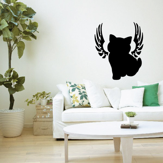 Cat With Wings Wall Decal - Vinyl Decal - Car Decal - DC015