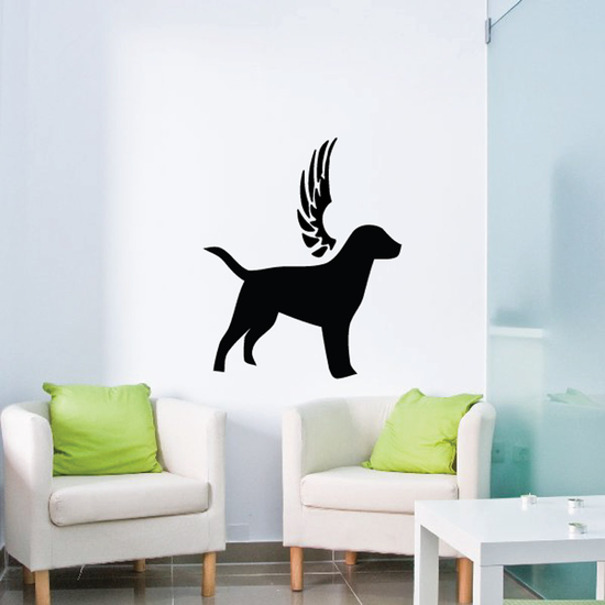 Dog with wings Wall Decal - Vinyl Decal - Car Decal - DC030
