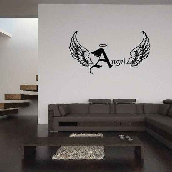Halo Custom Images Angel Wings Crosses In Memory Banners Wall Decal - Vinyl Decal - Car Decal - DC004