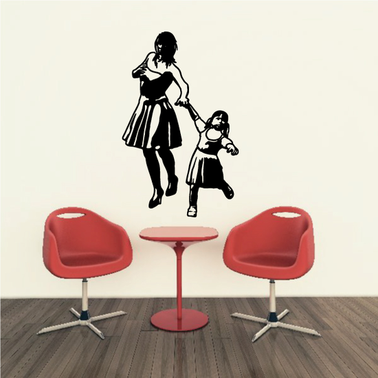 Mother And Daughter Skipping Decal