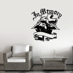 Ribbon Cloth Clouds Custom Images Angel Wings Crosses In Memory Banners Wall Decal - Vinyl Decal - Car Decal - DC006