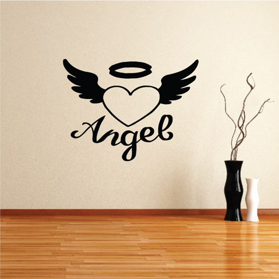 Heart Halo Custom Images Angel Wings Crosses In Memory Banners Wall Decal - Vinyl Decal - Car Decal - DC011