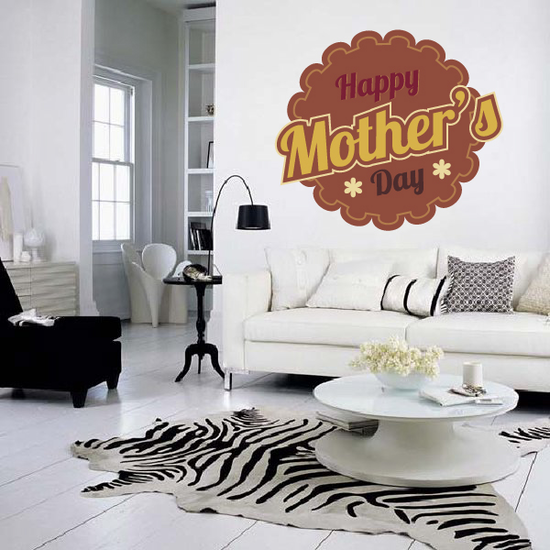 Happy Mothers Day Round Scallop Cut Sticker