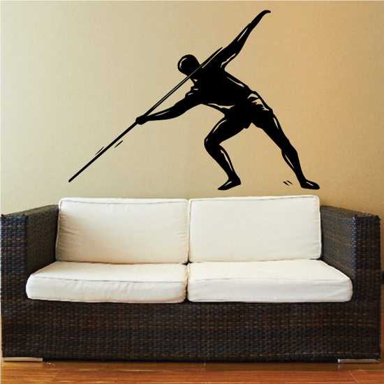 Guy Throwing Javelin Track And Field Wall Decal - Vinyl Decal - Car Decal - MC006