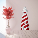 Red and White Striped Lighthouse Sticker