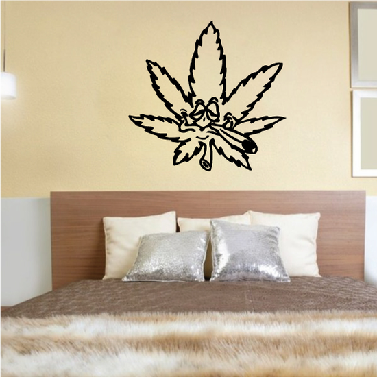 Marijuana Leaf Smoking Joint Decal