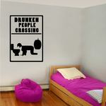 drunken people crossing Decal