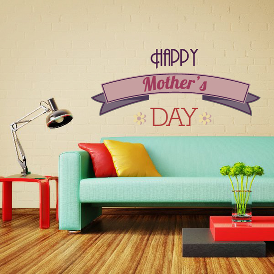 Ribbon Style Happy Mothers Day Decal