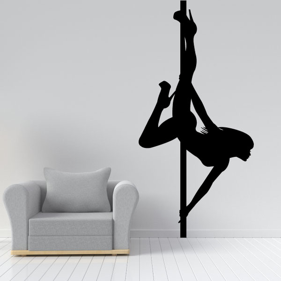 Nude Pole Dancer Looking Up Decal