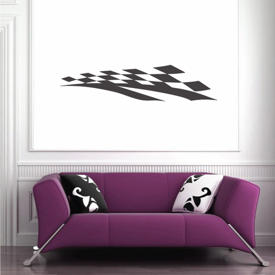 Racing Checkers Flags Wall Decal - Vinyl Decal - Car Decal - 012