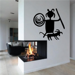 Cave Painting Hunter with Small Dog Decal