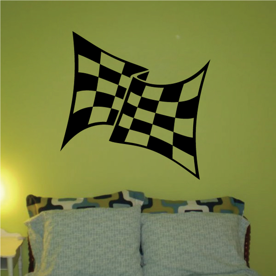 Checkered Flag Wall Decal - Vinyl Decal - Car Decal - CF08002