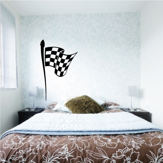 Checkered Flag Wall Decal - Vinyl Decal - Car Decal - CF08017