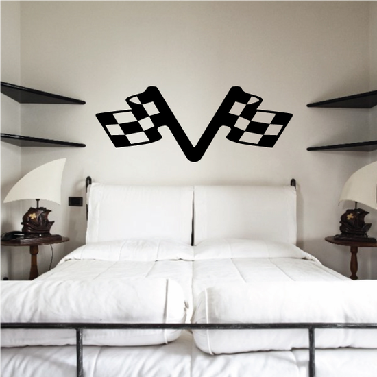 Checkered Flag Wall Decal - Vinyl Decal - Car Decal - CF08022