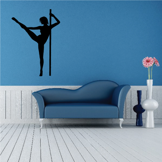Nude Pole Dancer Stretching Leg Decal
