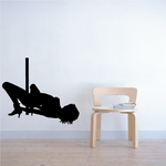 Nude Pole Dancer in Heels on Ground Decal