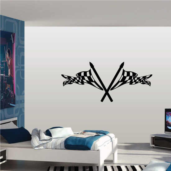 Checkered Flag Wall Decal - Vinyl Decal - Car Decal - CF08035