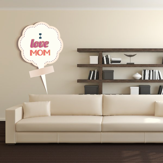 I Love Mom Mothers Day Cotton Flower Sticker