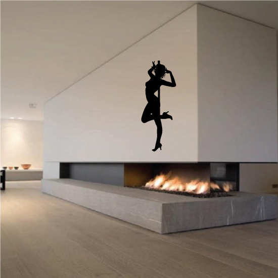 Nude Pole Dancer in Heels Standing with Leg Raised Decal