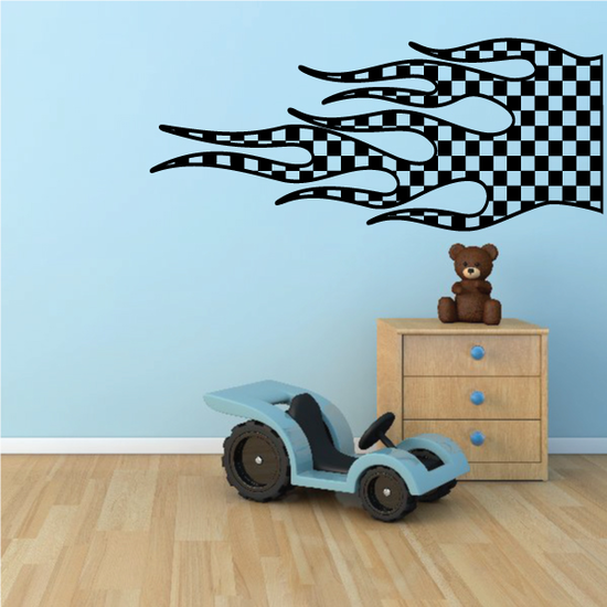 Checkered Flames Wall Decal - Vinyl Decal - Car Decal - CF23001