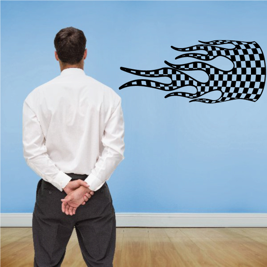 Checkered Flames Wall Decal - Vinyl Decal - Car Decal - CF23002