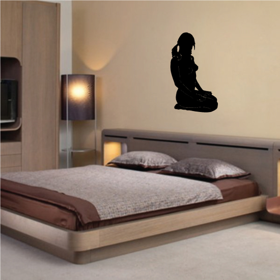 Sitting Woman with Pigtails Silhouette Decal