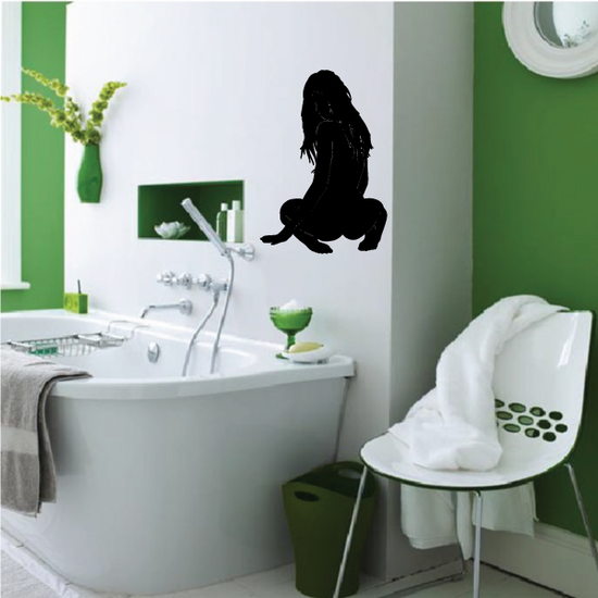 Sitting Woman Looking Back Silhouette Decal