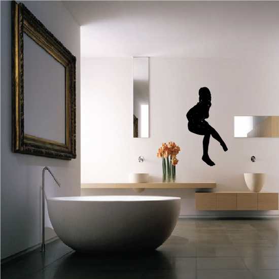 Interested Nude Woman Sitting Silhouette Decal