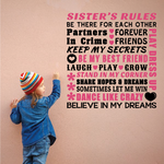 Sisters Rules Word Collage Wall Decal