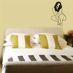 Dark Hair Crouched Nude Woman Decal