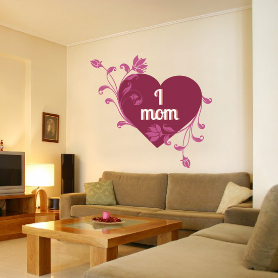 I Heart Mom Floral Vines Decal