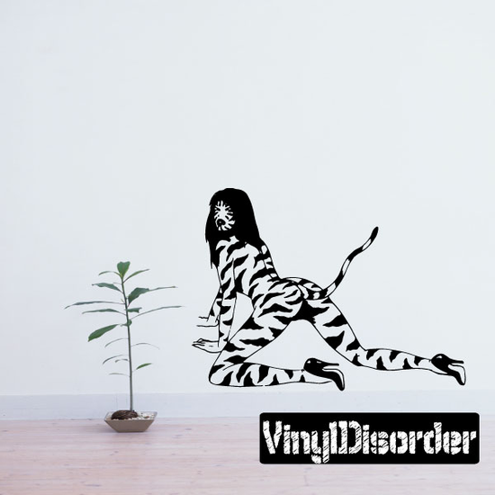 Striped Cat Girl Crawling Decal