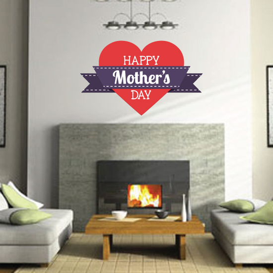 Happy Mothers Day Heart Banner Front Sticker