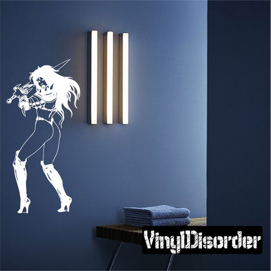 Armored Woman Swinging Sword Decal